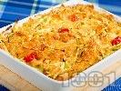Рецепта Фарфале паста с чери домати, царевица и тиквички на фурна